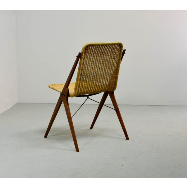 Mid-Century Modern Dutch Design Wicker and Teak Wood Side Chair in Style of Dirk van Sliedregt, 1950s For Sale - Image 3 of 12