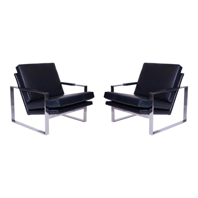 Mid Century Milo Baughman Thayer Coggin Leather Lounge Chairs - a Pair For Sale