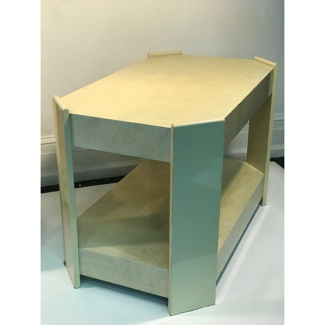 Modern Cream Lacquered Faux Goat Skin Night Stands - a Pair For Sale - Image 4 of 7