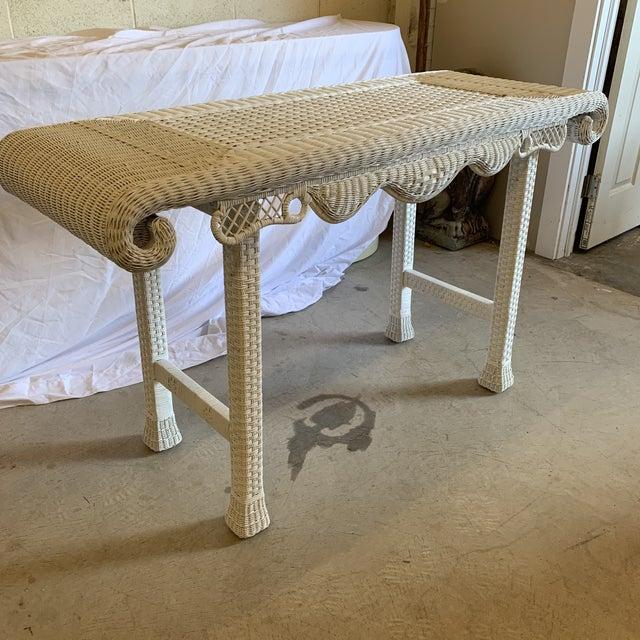 Asian Style White Wicker Console Table For Sale - Image 10 of 11