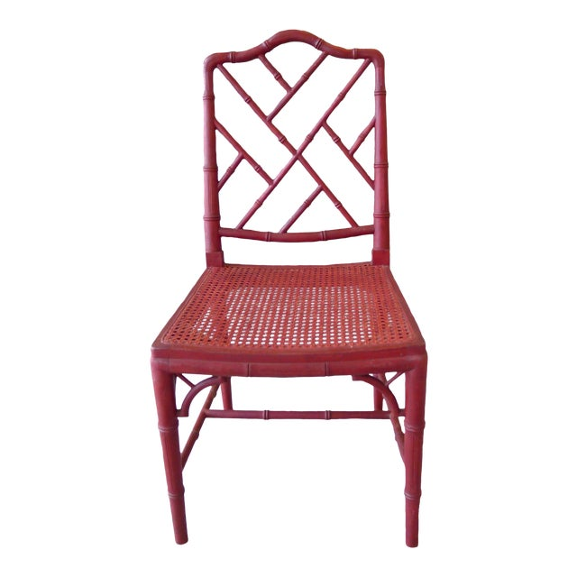 1960s Red Chinoiserie Bamboo-Style Chair - Image 1 of 7