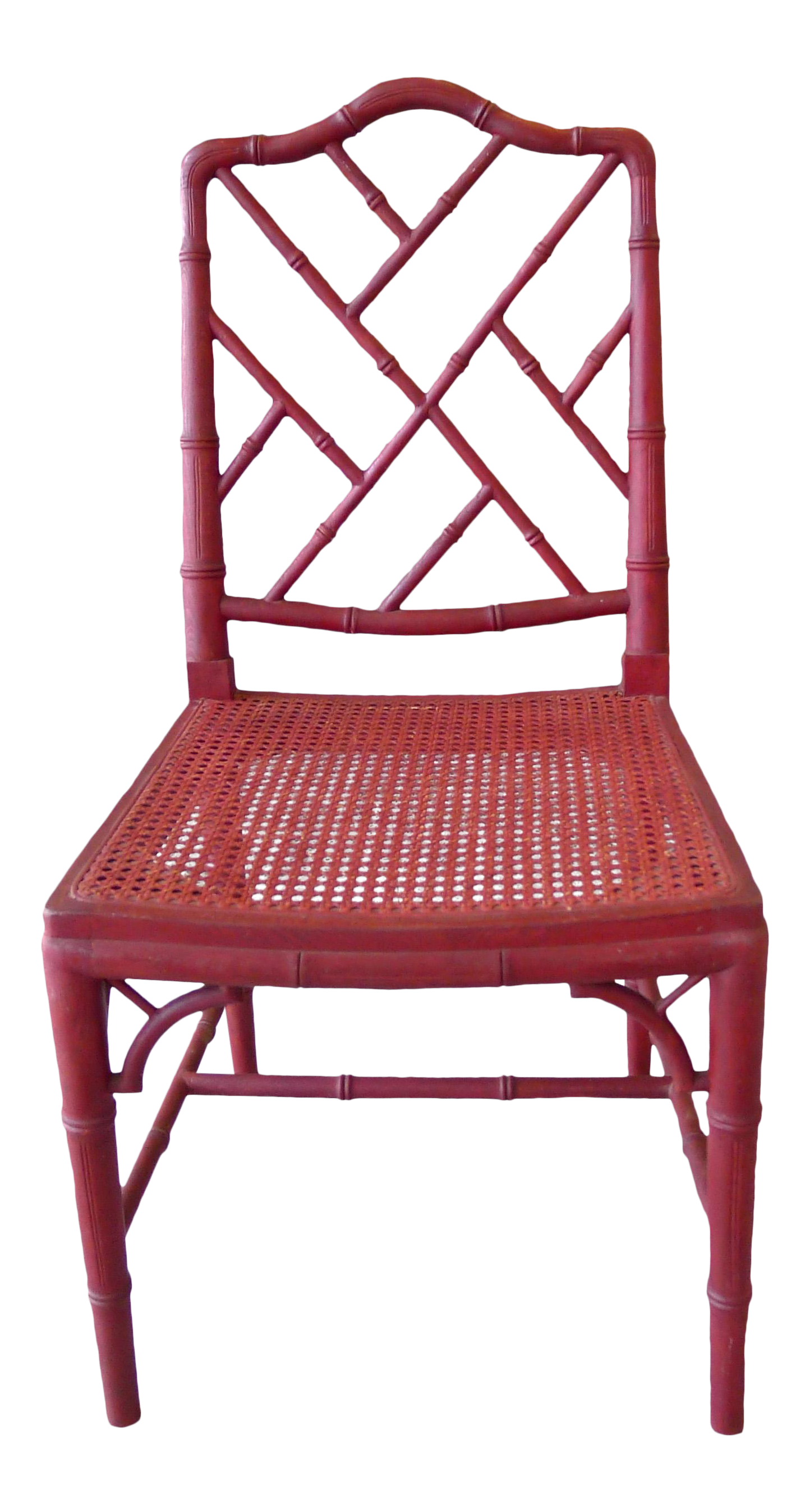 1960s Red Chinoiserie Bamboo Style Chair