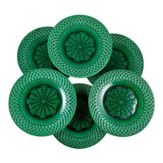 English Minton Green Majolica Basketweave Plates, Dated 1860 - Set of 10 For Sale