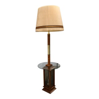 Mid-Century Tall Table Floor Lamp With 3-Candle Etched Glass Lantern Box & Shade For Sale