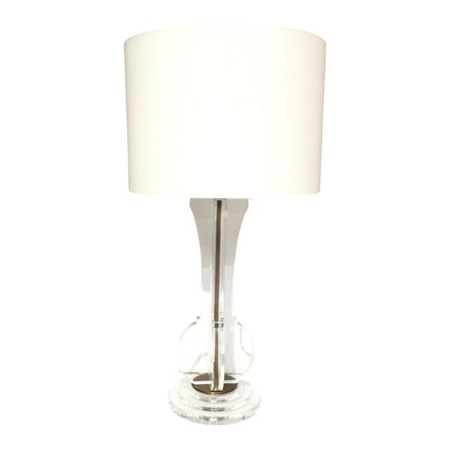 Currey & Co. Modern Optic Crystal Table Lamp For Sale