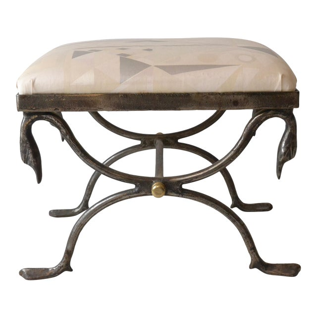 Quality Steel and Brass Bench with Swan Motif For Sale