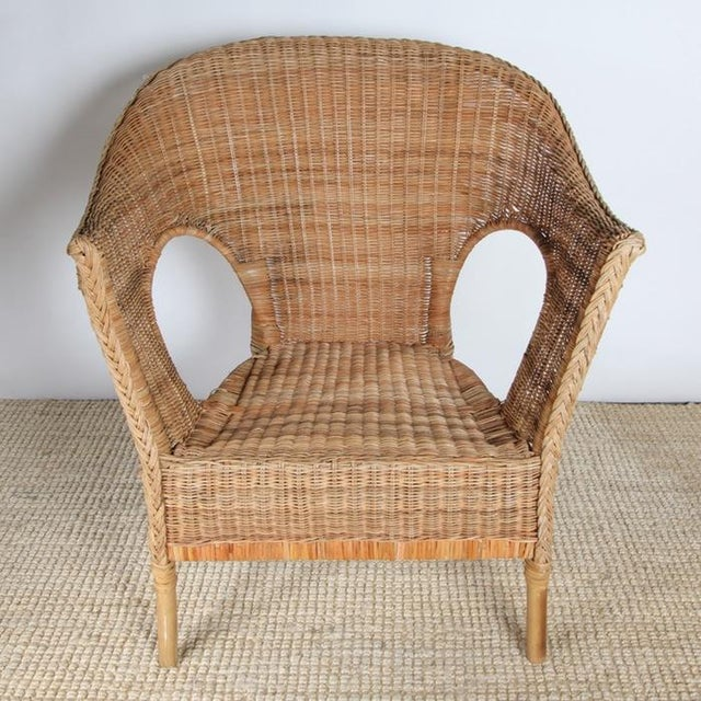 Wicker Patio Chairs with Cushions - A Pair - Image 5 of 8