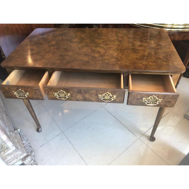 Queen Anne 1960s Quenn Anne Baker Furniture Oak Writing Desk For Sale - Image 3 of 8
