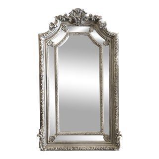 Large French Farmhouse Style Chalk Grey Mirror For Sale