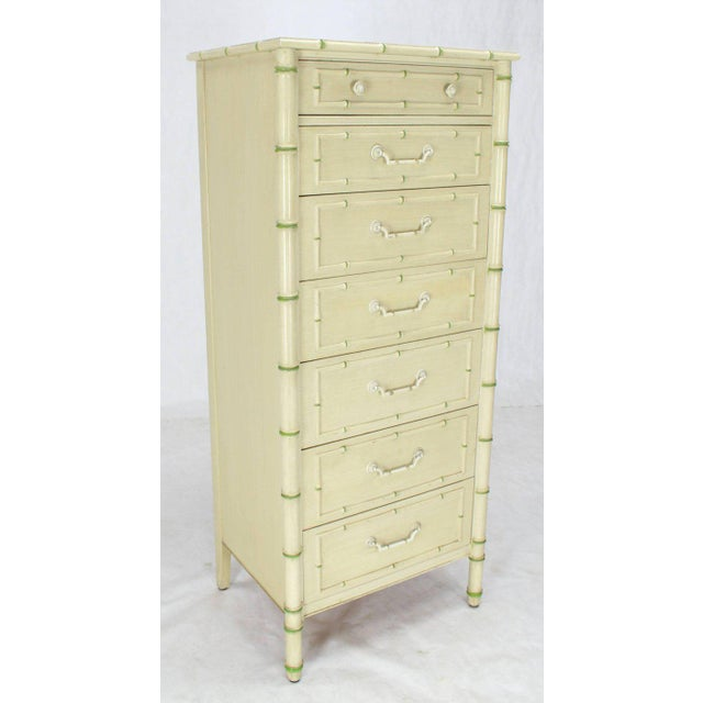 Tall Faux Bamboo Decorated Seven Drawers Lingerie High Chest Dresser For Sale - Image 9 of 9