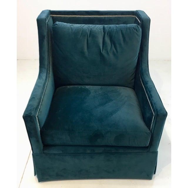 Modern Gabby Helena Blue Velvet Modern Swivel Club Chair For Sale - Image 3 of 6