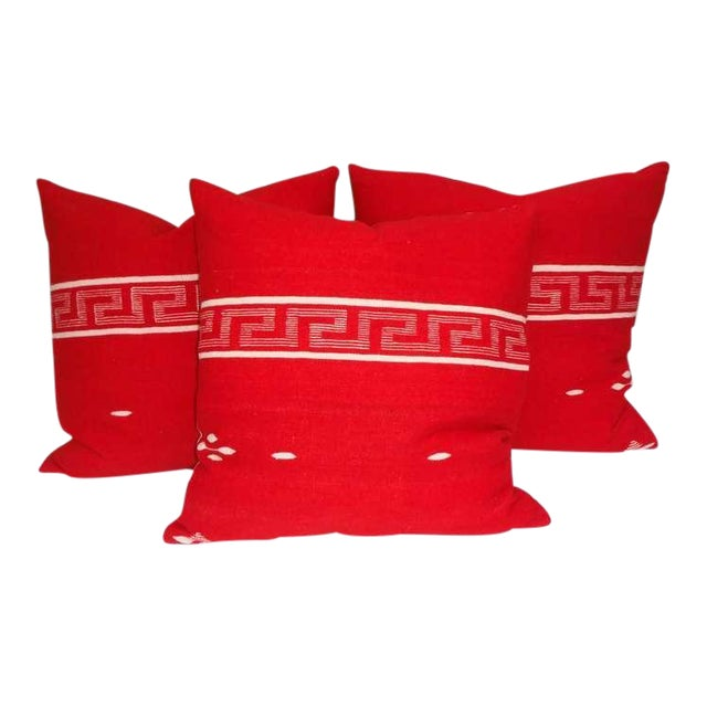 Collection of Three Brilliant Texcoco Woven Pillows For Sale