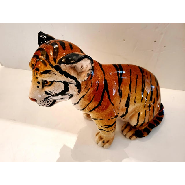 Italian Ceramic Tiger Cub Sculpture For Sale - Image 4 of 10