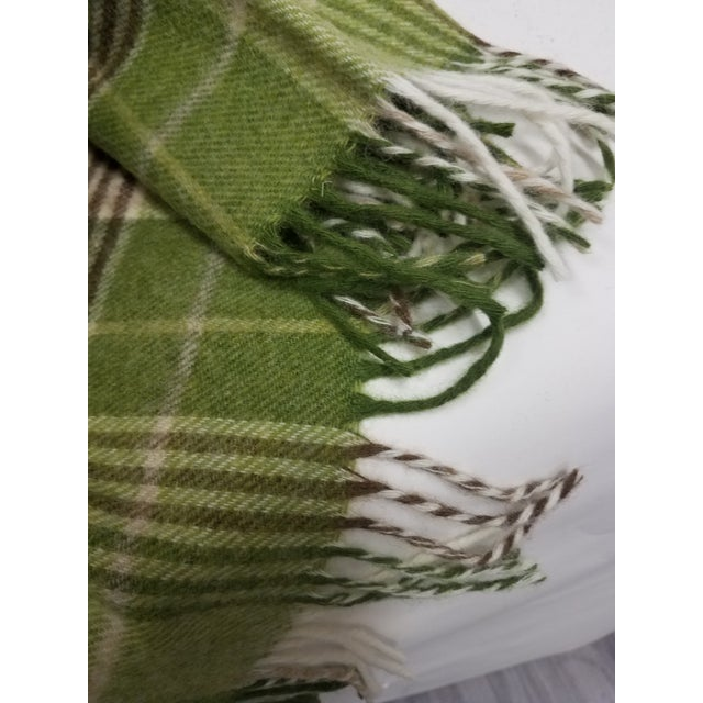 Merino Wool Throw Greens Brown and White Plaid - Made in England For Sale - Image 10 of 11