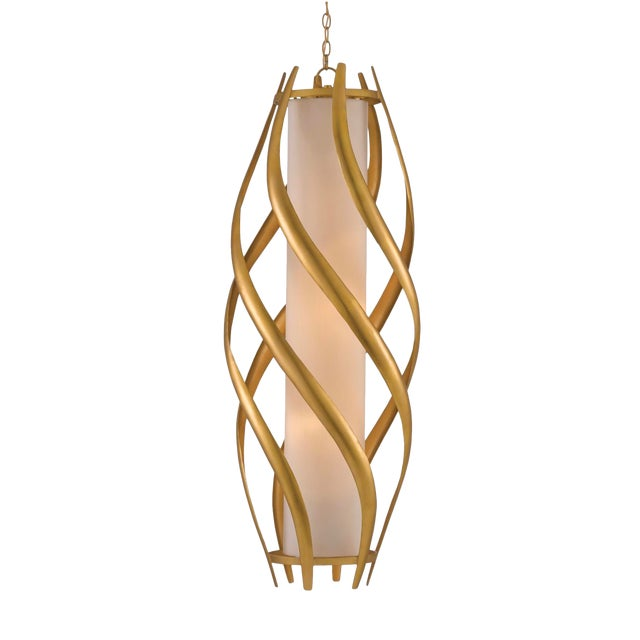 Currey & Co. Modern Gold and White Trephine Pendant Light For Sale