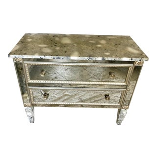 Mirror Commode With 2 Drawers and Faux Hand Painted Marble Top For Sale
