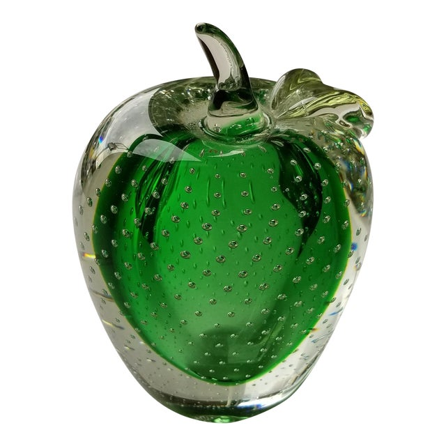 Vintage Green Murano Art Glass Apple For Sale