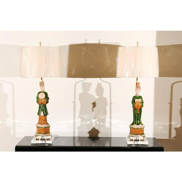Regal Pair of Chinese Mudmen Figures as Custom Lamps For Sale - Image 10 of 11