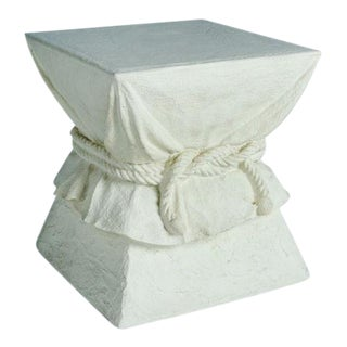 Faux Plaster Roped Drapery Pedestal Table