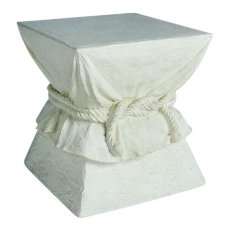 Faux Plaster Roped Drapery Pedestal Table For Sale