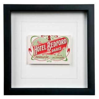 Framed French Bedford Hotel Luggage Label
