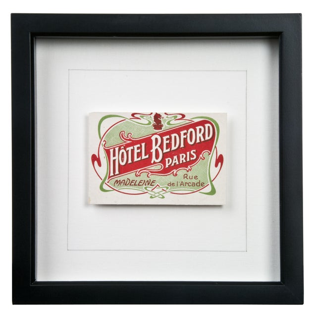 Framed French Bedford Hotel Luggage Label - Image 1 of 2