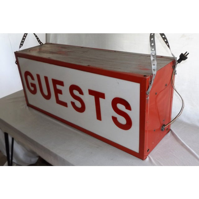 """Vintage Double-Sided Lit """"Guests"""" Sign - Image 4 of 10"""
