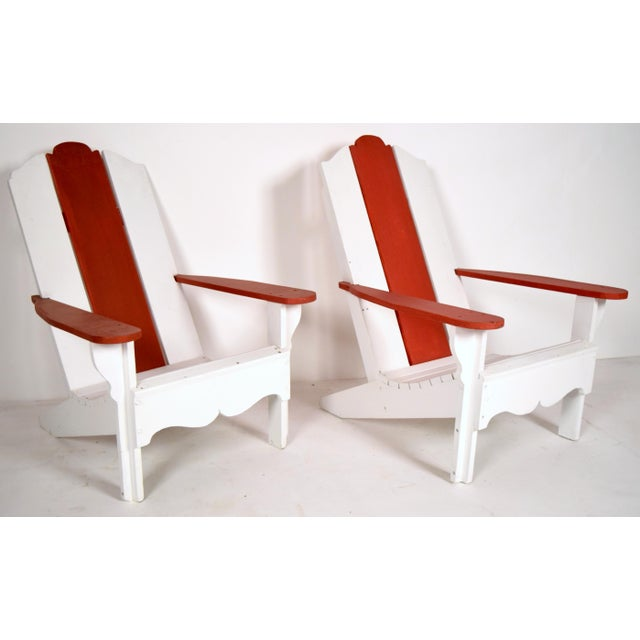 1970's White & Red Wood Pool Lounge Chairs - Pair - Image 3 of 8