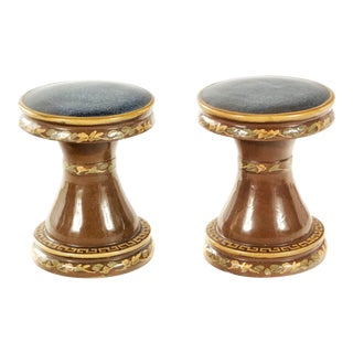 1980s Vintage Neoclassical Terracotta Ceramic Garden Stools - a Pair For Sale