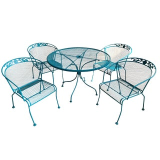 Vintage Wrought Iron Patio Set in the Manner of Russell Woodard For Sale