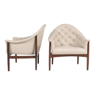 1950s Mid-Century Modern Milo Baughman for Thayer Coggin Ivory Leather Tub Chairs - a Pair