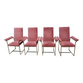 Milo Baughman Style Vintage Pink & Brass Dining Chairs - Set of 4 For Sale