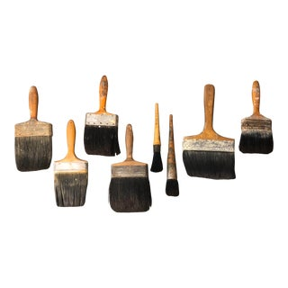 Gallery Wall Collection 8 Vintage Large Working Paint Brushes- Set of 8 For Sale
