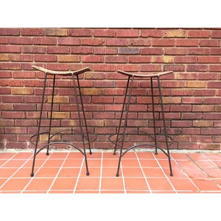 1970s Mid-Century Modern Arthur Umanoff Style Iron and Rattan Barstools - a Pair Preview