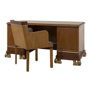 Carl Bergsten Desk and Chair, Swedish, Ca. 1925