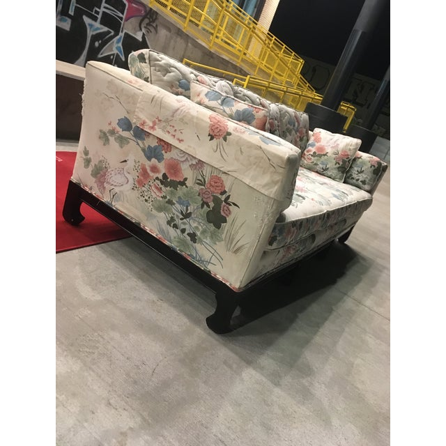Chinoiserie 3-seat sofa with Ming legs, quilted down filled pillows that have been fully upholstered on both sides, and...