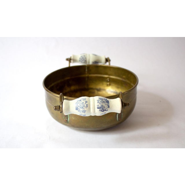 Vintage Mid Century Brass Bowl & Ceramic Handles For Sale - Image 4 of 7