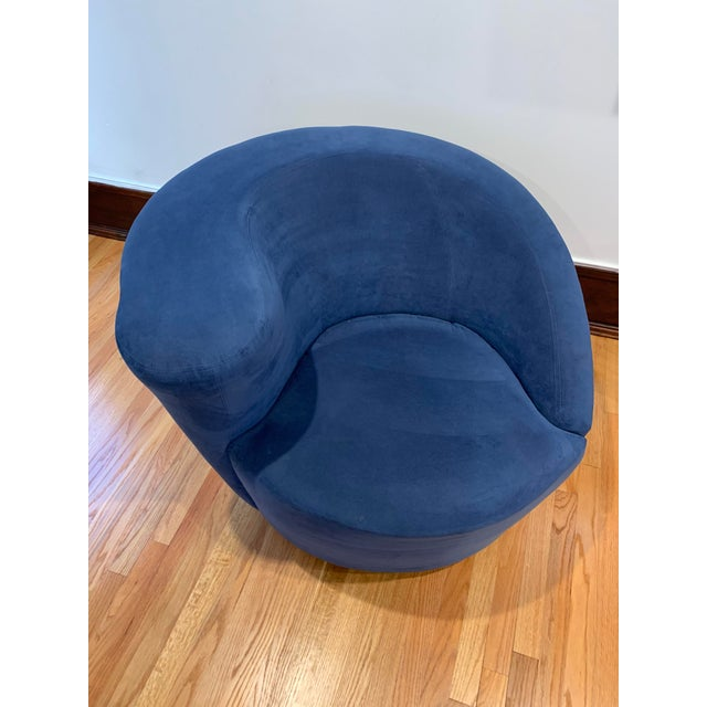 2000 - 2009 Modern Vladimir Kagan for Directional Nautilus Ultrasuede Swivel Chairs- a Pair For Sale - Image 5 of 10