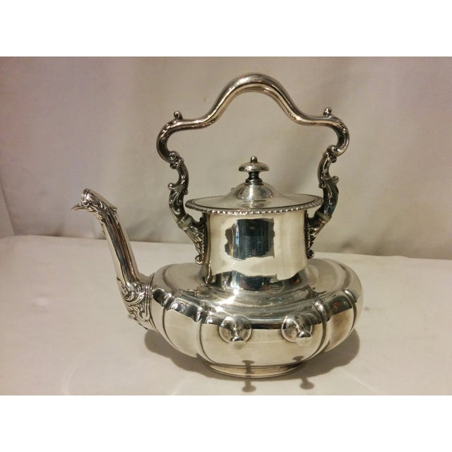 American Silverplate Teapot w/ Stand & Burner - Image 4 of 11