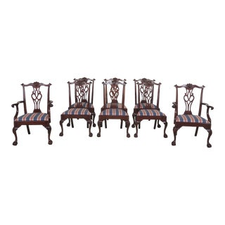1990s VintageHenkel Harris Mahogany #112 Clawfoot Dining Chairs- Set of 8 For Sale