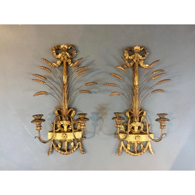 Pair of 1940s Italian Giltwood Wall Sconces, Louis XVI Style For Sale - Image 11 of 11