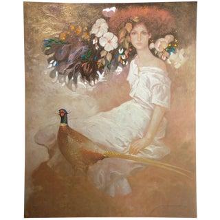 """Felix Mas """"Serena"""" Hand Signed Embellished Ltd Edition Serigraph Art Print Unframed, Spain For Sale"""