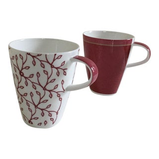 Villeroy & Boch Burgundy Coffee Club Porcelain Mugs - A Pair