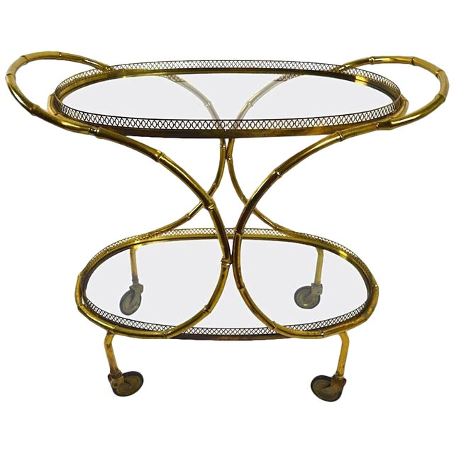 Faux Bamboo Serving Cart, Trolley in Brass and Glass For Sale