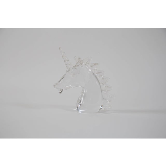 Beautiful crystal unicorn bust by Marcolin Art; Ronneby, Sweden . Acid etched/signed on the bottom.