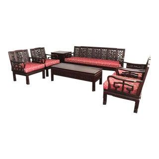 1980s Vintage Asian Rosewood Living Room Set For Sale