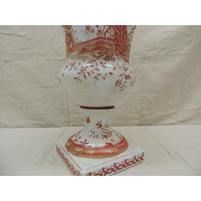 1990s Orange and White Ceramic Urn For Sale - Image 5 of 6