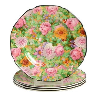 Crown Ducal Pink Chintz (Black Trim) Appetizer Plates - Set of 4 For Sale