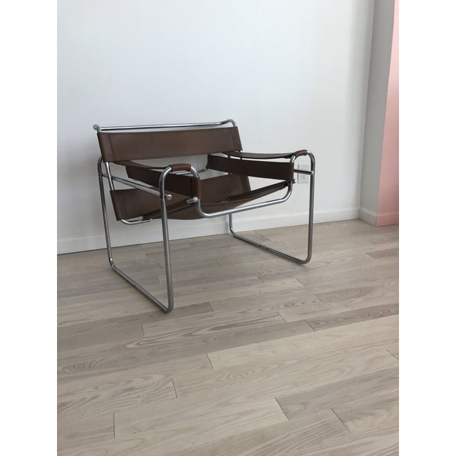 Vintage Wassily Brown Leather Chair - Image 4 of 10