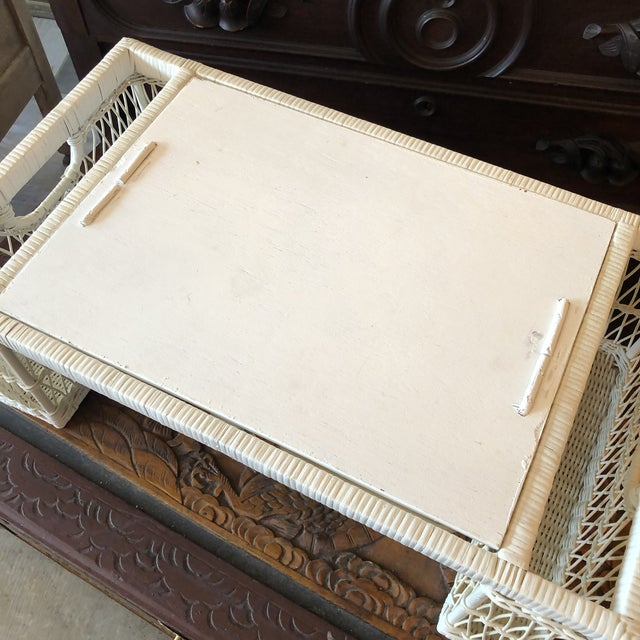 Wicker Vintage White Wicker Bed Tray For Sale - Image 7 of 12